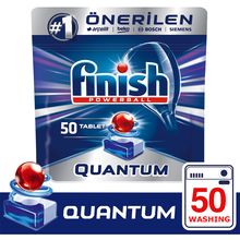 Finish Quantum 50 Tablet Dishwasher Detergent Provides Superior Cleaning and Shine on Dishes
