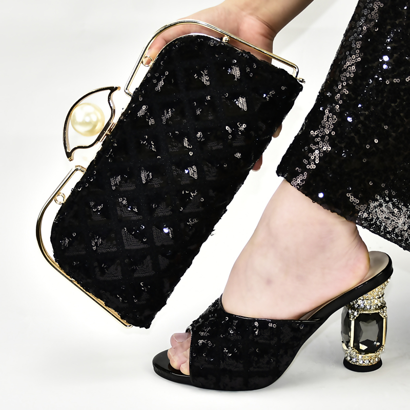 Women Fashion Black Slippers Shoes And Matching Clutches Bag With Many Sequins For Nigeria Party Shoe Bag SB8439-4