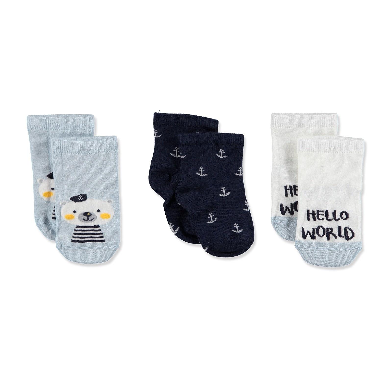 Ebebek Petit Minou 3 Pack Baby Socks Hello World