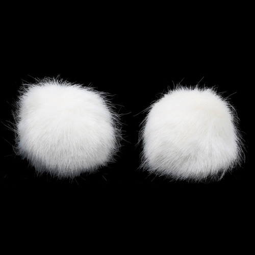 Pompon Made Of Artificial Fur (rabbit), D-8cm, 2 Pcs/pack (O White)