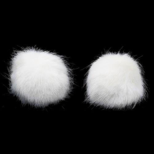 Pompon Made Of Artificial Fur (rabbit), D-8cm, 2 Pcs/pack (O White)