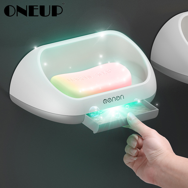 ONEUP Portable Soap Dishes Shower Case Holder Wall Mounted Soap Holder Storage Box Stand With Drain Pan Bathroom Accessories Set