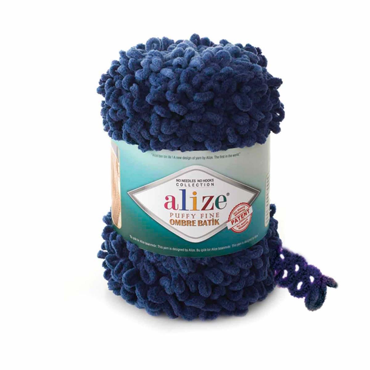 Yarn Alize 'puffy Fine Ombre Batik' 500gr. 73 M. (100% Micro Polyester) (7266 Dark Blue)