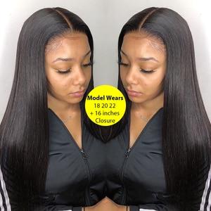 Image 3 - BAISI волосы перуанские прямые натуральные волосы, 3 пучка с 4X4 закрыванием, 100% натуральные волосы для наращивания, длинные, бесплатная доставка