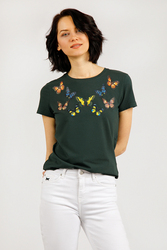 Finn Flare темно-зеленая женская фуфайка с коротким рукавом, коллекция лето-2020