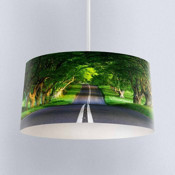 Else Green Trees Jungle High Way Road Digital Printed Fabric Chandelier Lamp Drum Lampshade Floor Ceiling Pendant Light Shade
