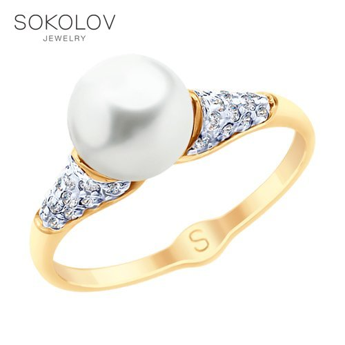 SOKOLOV Ring Gold With Pearls And Cubic Zirkonia Fashion Jewelry 585 Women's Male