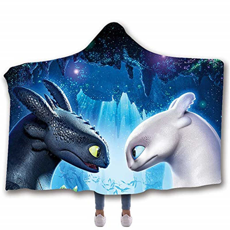 How to Train Your Dragon Printed Plush Hooded Blanket For Adults Kid Warm Home Sofa Wearable Double layer Fleece Throw Blankets