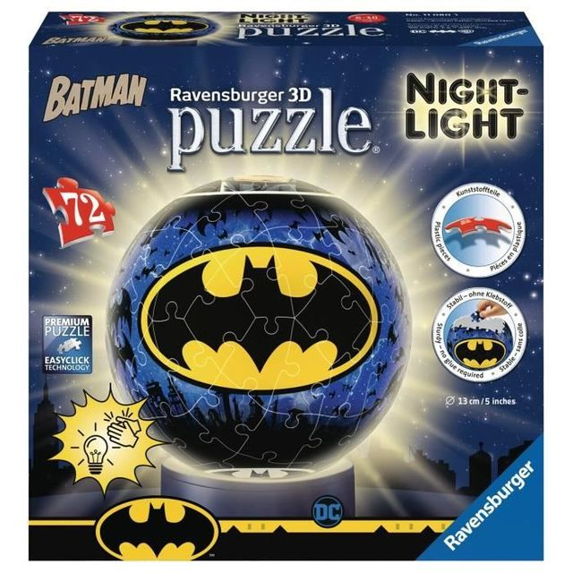 RAVENSBURGER - Batman 3D Round Puzzle 72 piezas Iluminado
