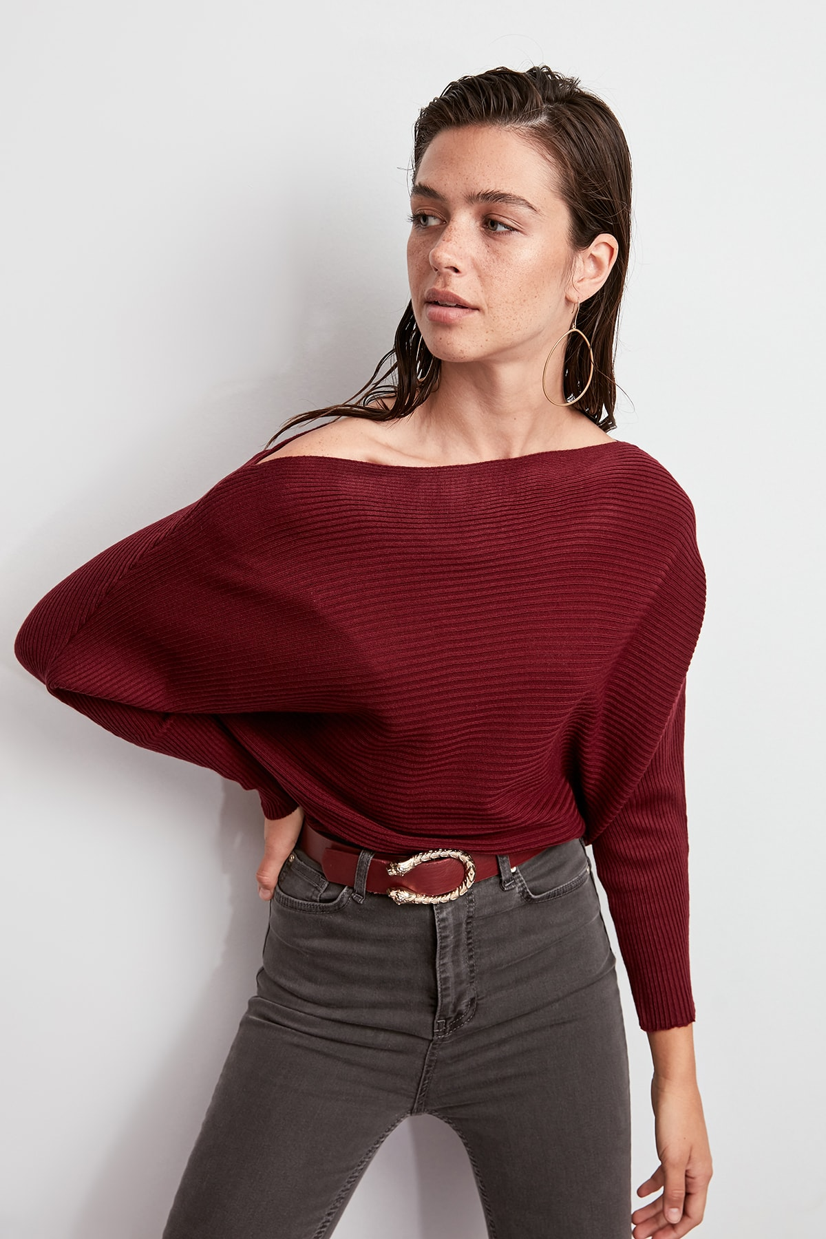 Trendyol WOMEN-Damson Bat Sleeve Sweater Sweater TWOAW20FV0040
