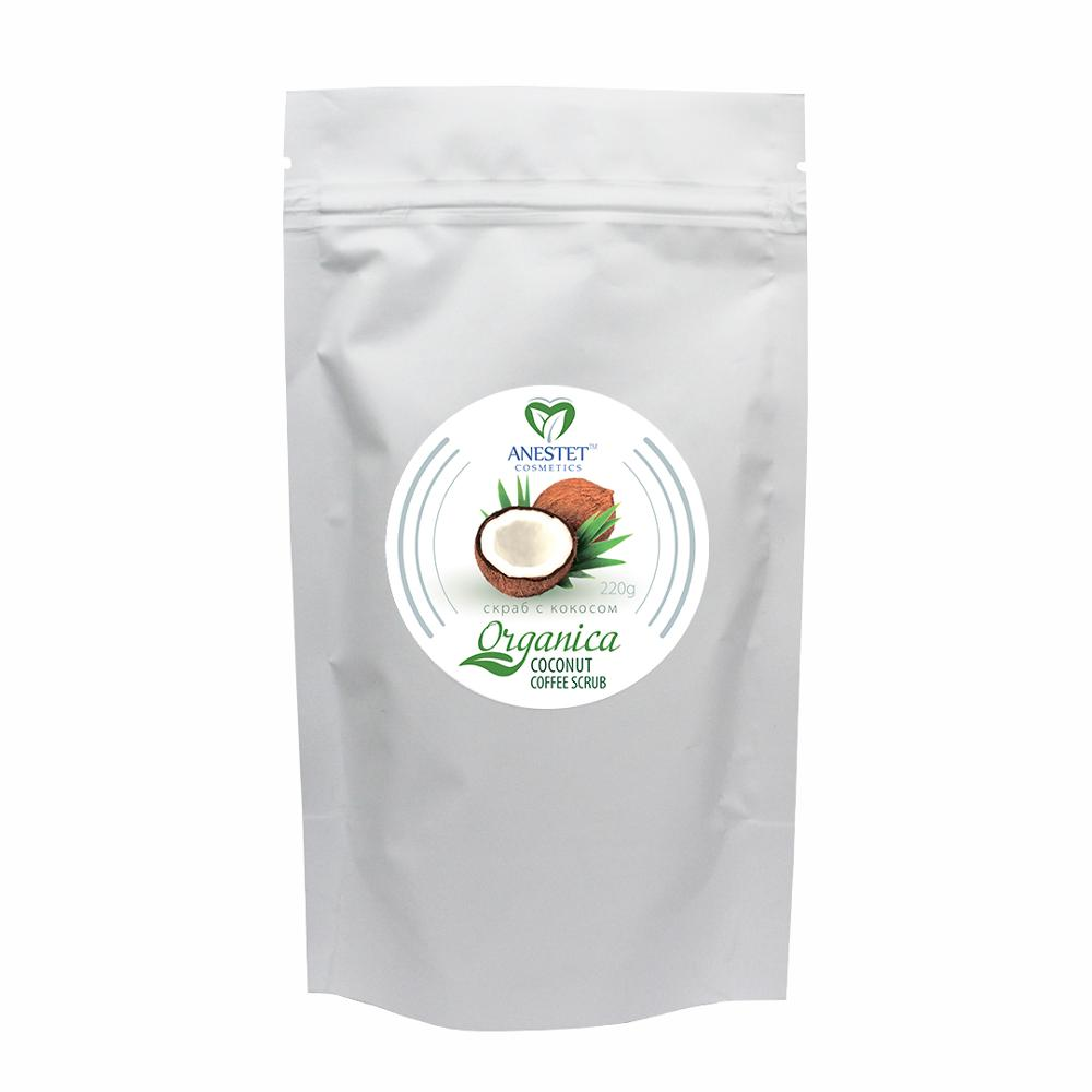 Body Scrub Coffee Coconut ANESTET, 220 G. Organic Shop, Body Scrub, Exfoliante Corporal, Gommage Corps Exfoliant, Body Exfoliator