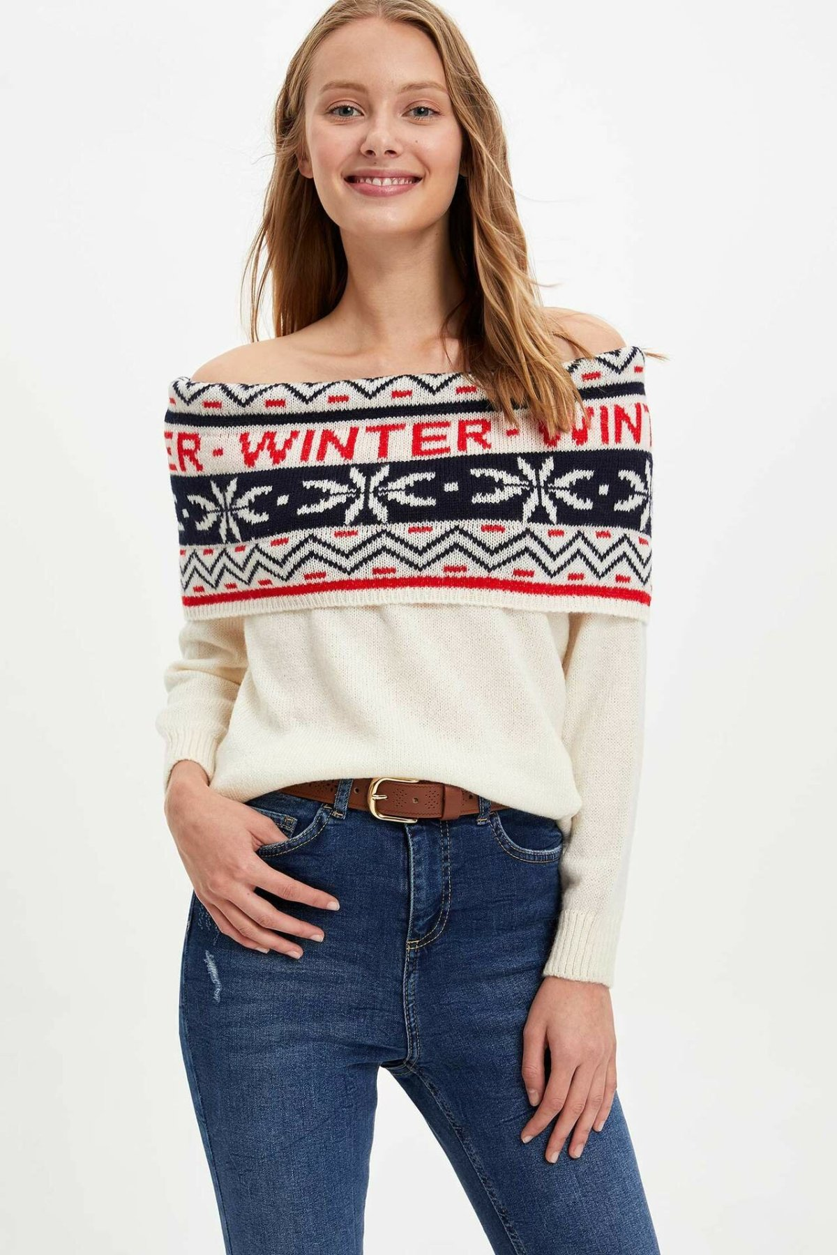 DeFacto Woman Winter Xmas Prints Pullovers Women Sexy Off-shoulder Knitted White Pullover Women Winter Tops-L4603AZ19WN