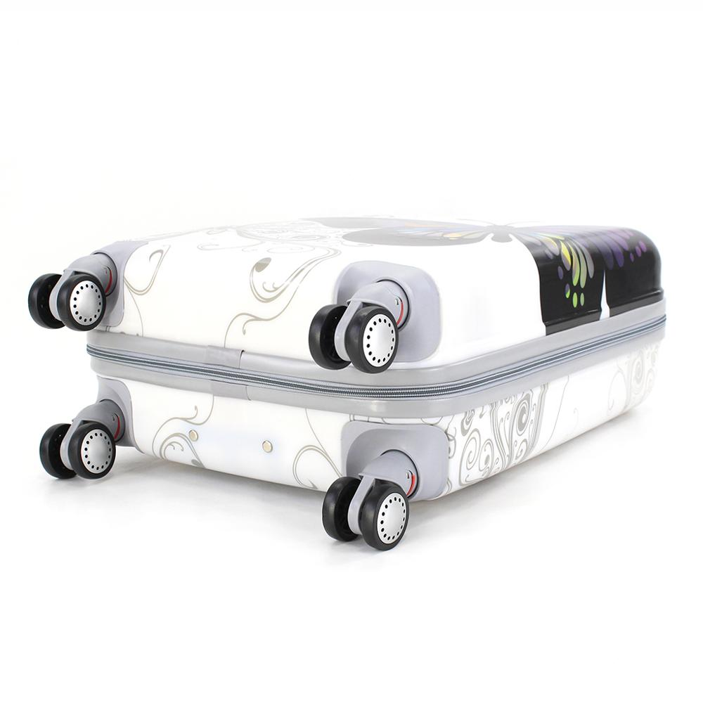 Valise cabine estampillée papillons 55cm rigide avec sac cosmétique - 4