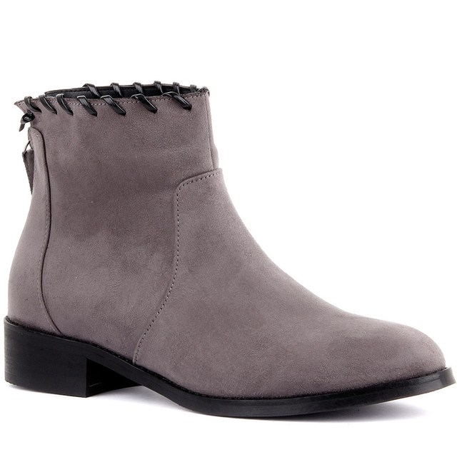 Moxee-Gray Suede Women's Ankle Boots