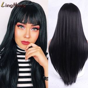 LingHang Blonde Hair Long Straight Wig with Bangs Synthetic Hair Bang Wigs with Wig for Women Black Brown Heat Resistant Wig