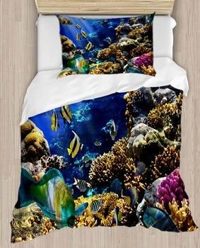 Sonst Blau Meer Welt Aquarium Tropische Fische 4 Stück 3D Druck Baumwolle Satin Einzelnen Bettbezug Bettwäsche Set Kissen Fall bett Blatt