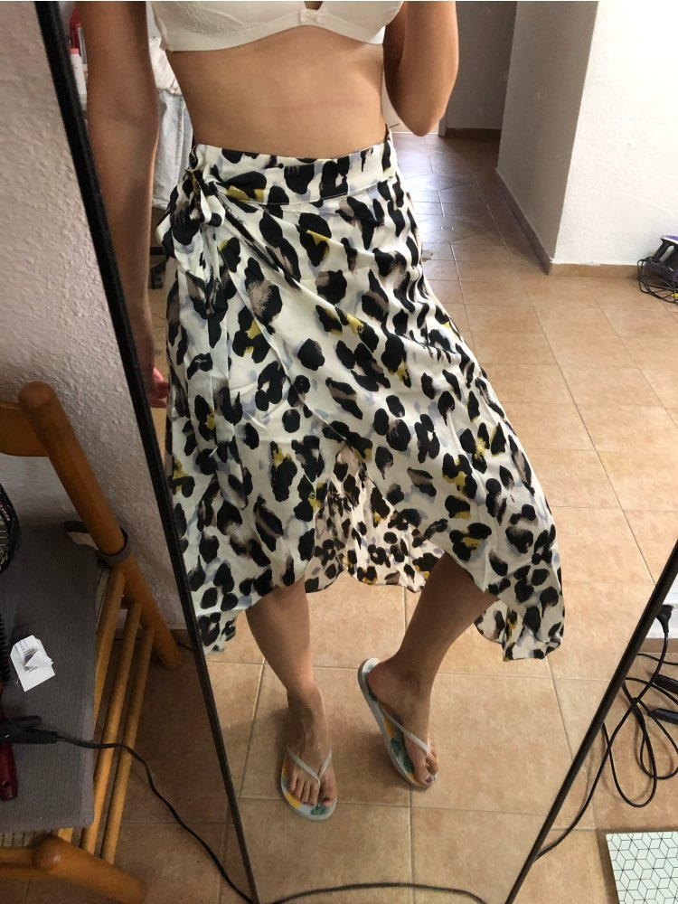 Waist Knot Leopard Print Women Skirt Mid Waist Ladies Shift Skirts Casual Womens Clothing Summer New Midi Skirt photo review