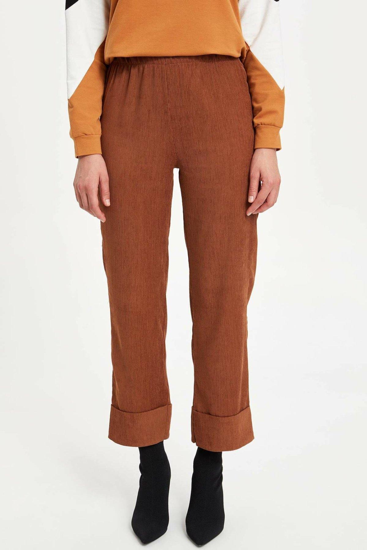 DeFacto Woman Trousers Women Solid Color Loose Pants Red Camel Casual Long Pants Women Bottoms-M8636AZ19WN