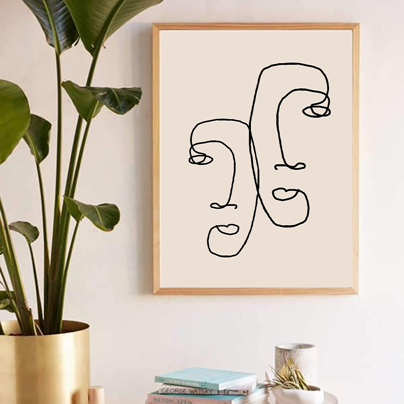 One Line Drawing Wall Art Print Home Decor