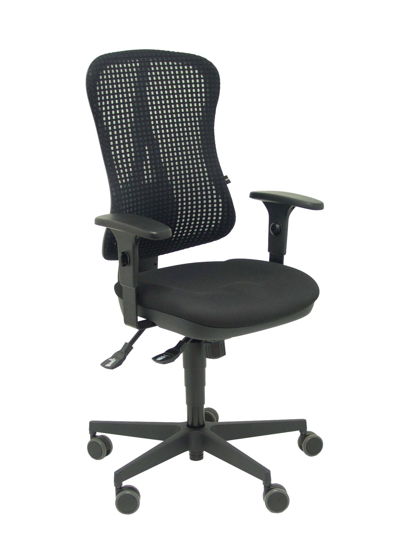 Ergonomic Office Chair With Mechanism Synchro, Arms Adjustable-breathable Mesh Backrest In Black Color And