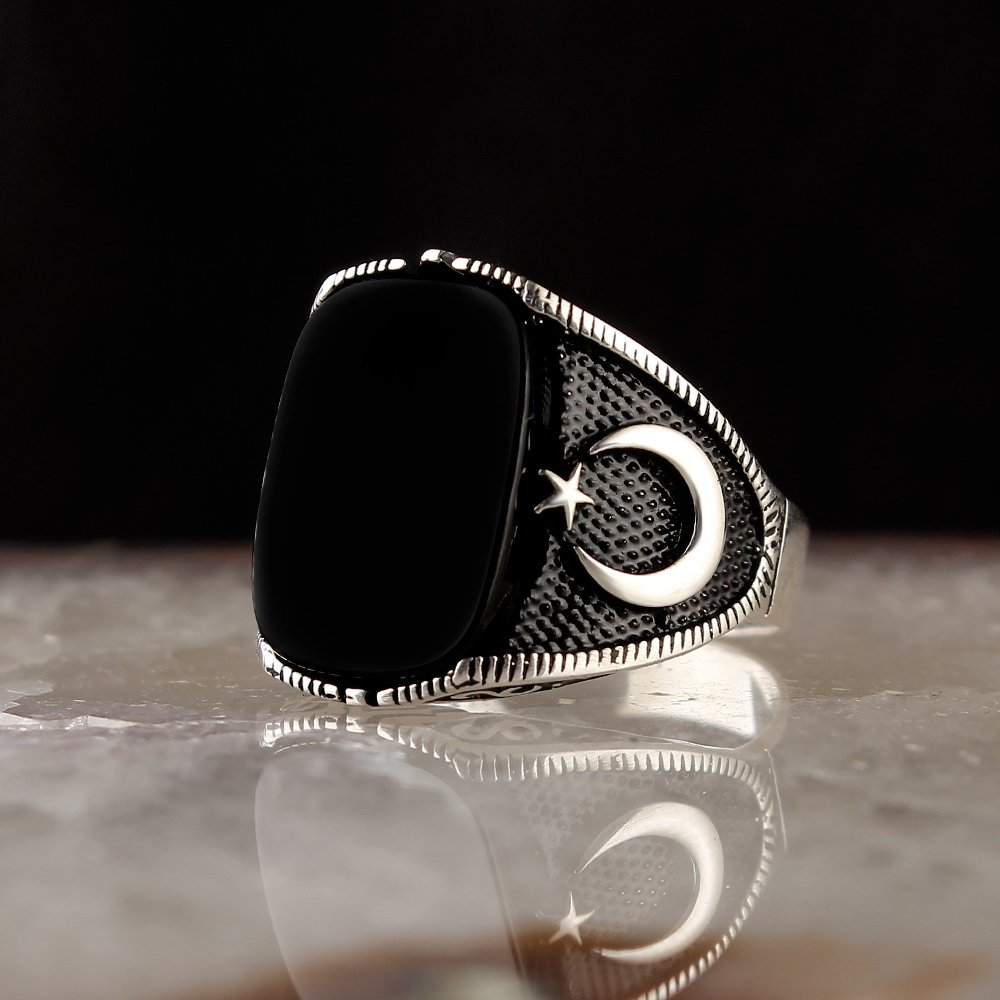 925 Sterling Silver Rings Men Rings Turkish jewelry Onyx Gemstone Ring Men Jewelry Made in Turkey Men Silver Ring for Man accessory