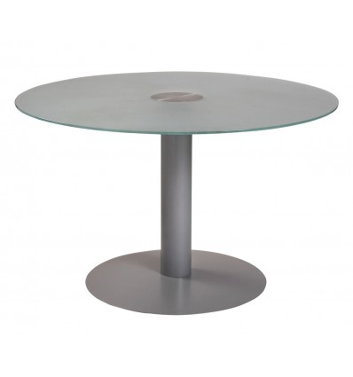 MEETING TABLE ROUND 120CM IN DIAMETER HEIGHT 72CM COLOR: PAW METAL GRAY/BOARD CRYSTAL