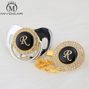 Image 5 - MIYOCAR Gold silver name Initials letter R beautiful bling pacifier and pacifier clip BPA free dummy bling unique design LR