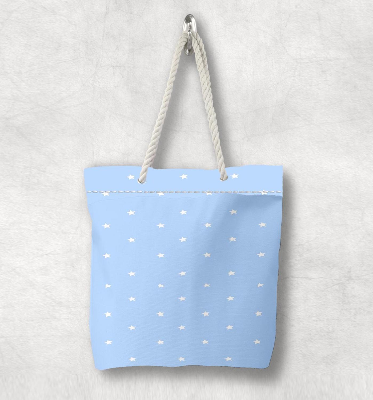 Else Blue White Stars Hugs Pink Hearts Scandinavian White Rope Handle Canvas Bag  Cartoon Print Zippered Tote Bag Shoulder Bag