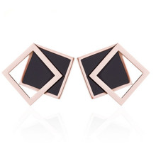 jinwateryu  Double black and rose colour  titanium steel dangle  a pair of earrings  for girl  style pair of stylish double end crack bead earrings for women