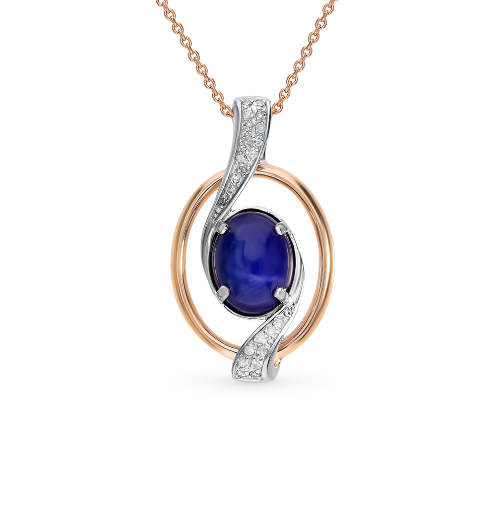 Gold Pendant With Star Sapphire And Sunlight Diamonds Sample 585