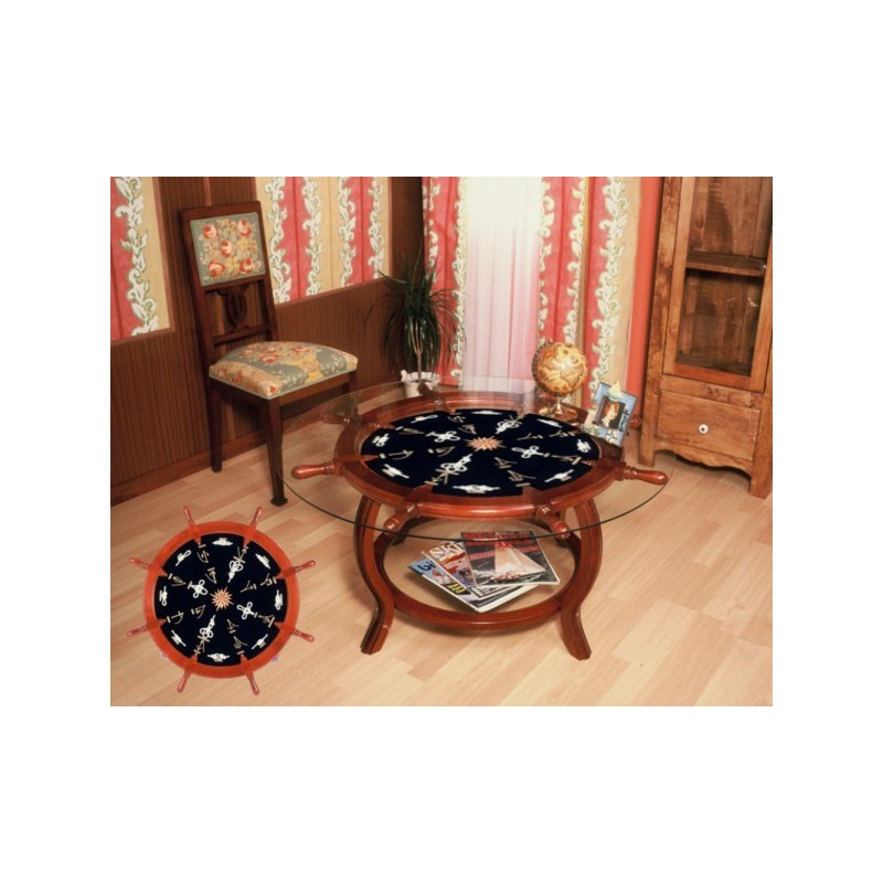 Rudder Wheel Table Ø102x49cm With White Knots (served Without Glass)
