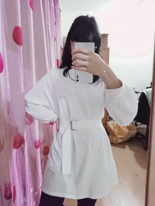 7 Colors Long Sleeve Dress Women Spring Autumn Korean Style Dress Ladies Solid Color Loose T Shirt Dress Women With Belt photo review