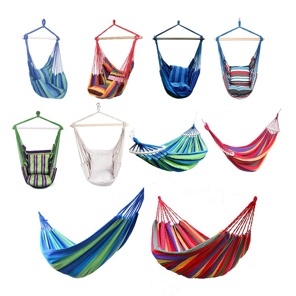 Garden Hanging Chair Swing  Lazy Chair Canvas Hammocks Outdoor Travel Hiking Camping  Hammock With Pillow Outdoor Swing Chair