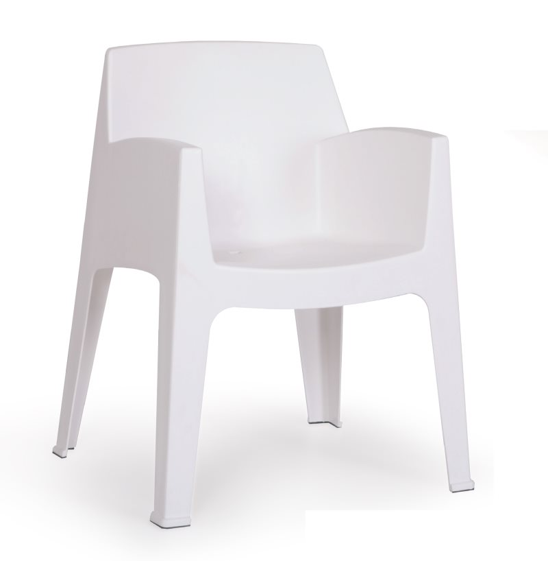 Armchair POOL, Stackable White Polypropylene