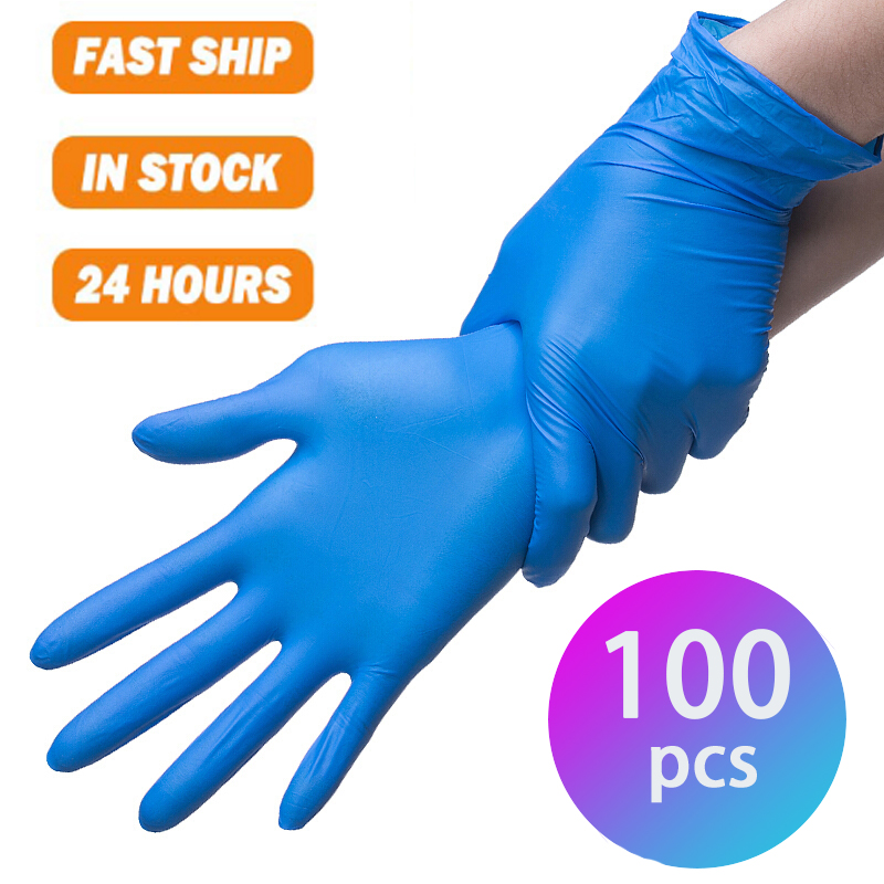 HKFZ 100PCS Nitrile Gloves Anti-static Cleaning Washing Disposable Nitryl Non-toxic Work Mechanic Hand Gloves Latex Luvas