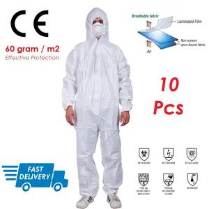Clothing Coverall-Suit Splash-Radiation Protective Anti-Chemical Disposable 10pcs Liquid