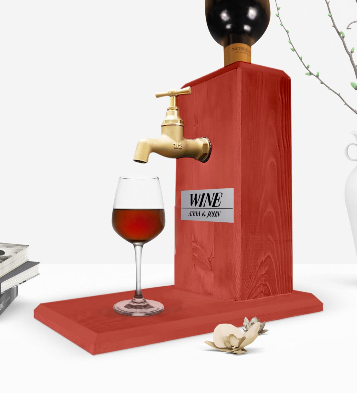 Custom Wooden Natural Wine Stand with Tap - Tile Red