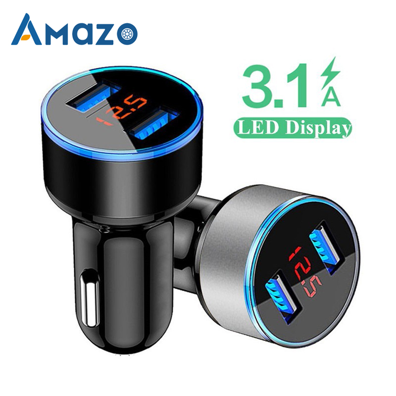 Aluminum Alloy USB Car Charger Dual 5V/3.1A LED Light Adapter Universal 12-24V Car Motorcycle Cigarette Voltage Display Socket