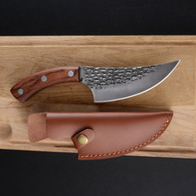 Damask Handmade Forged Kitchen Knife Full Tang Butcher Knives 5.5 Inch Camping Serbian Cleaver Boning Knives With Leather Sheath(China)