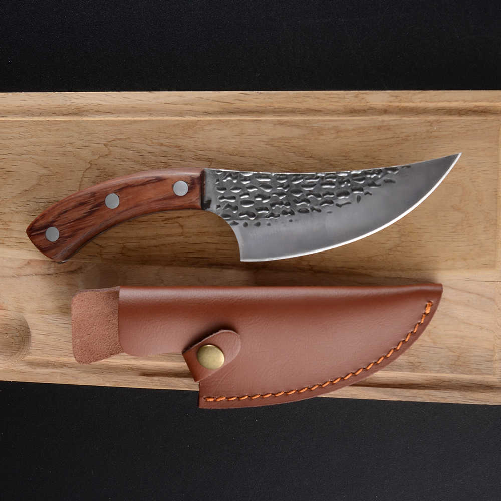 Damask Handmade Forged Kitchen Knife Full Tang Butcher Knives 5.5 Inch Camping Serbian Cleaver Boning Knives With Leather Sheath