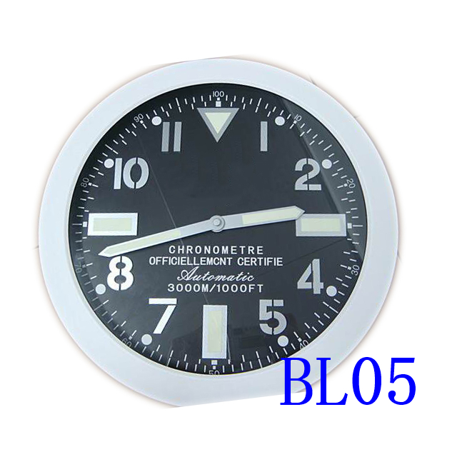 BRE metal wall clock modern design home decoreation high quality luxury brand stainless steel luminous dial silver color case