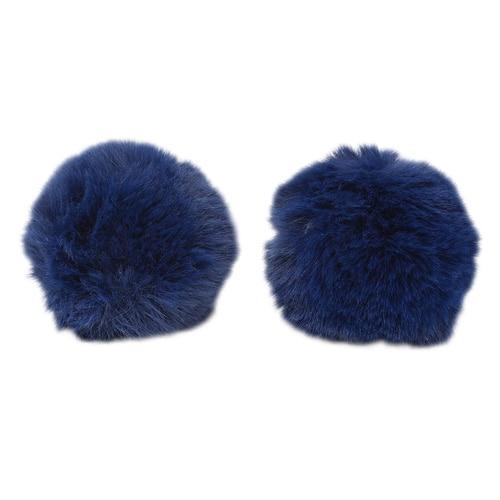 Pompon Made Of Artificial Fur (rabbit), D-8cm, 2 Pcs/pack (J. Blue)