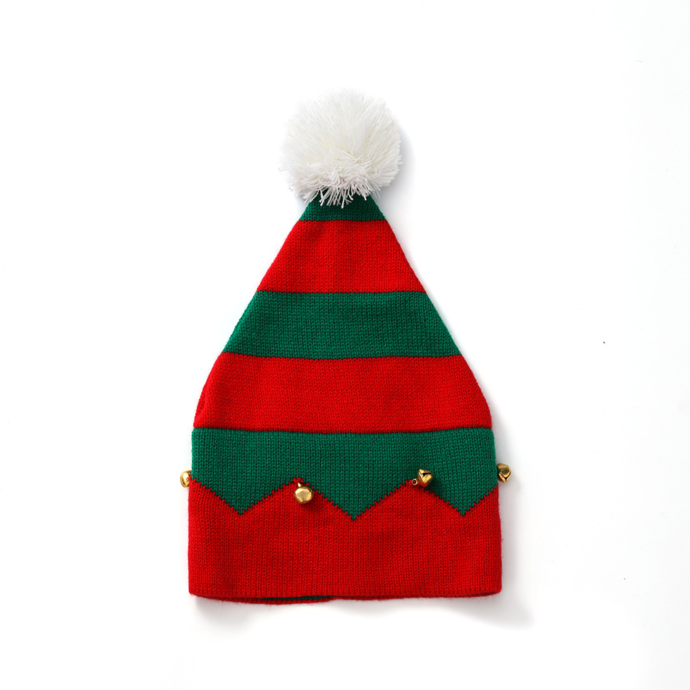 Christmas Elf Knitted Warm Hat Xmas Beanie Santa Hat Cap with Pompom Bells Infant Toddler Kids 1-6 Years Party Red Green White