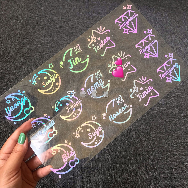 Bangtan Boys Hologram Sticker Fans Support Unique Laser Decals Army JH SG Stickers Cosplay Lightstick Laptop Decal 1 Peek