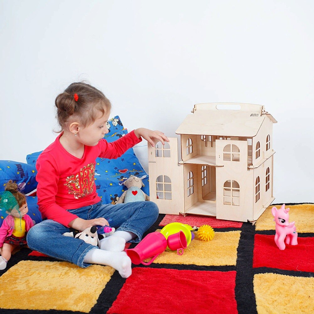 Brinquedos casa de bonecas Casa Presentes de Ano Novo Diy Casa de Bonecas De Madeira Em Miniatura Construção Brithday boneca acessório parte do bloco de madeira compensada DFM-2d