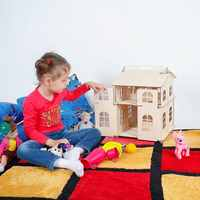 Muñecas casa juguetes casa regalos de Año Nuevo casa de muñecas miniatura edificio de madera Brithday muñeca accesorio bloque pieza madera contrachapada DFM-2d