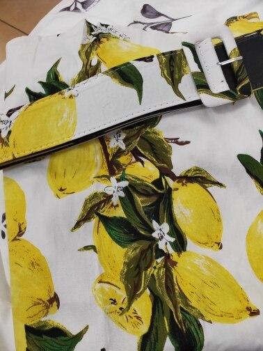 S 5Xl Plus Size Lemon Print Summer Vintage Dress Turn Down Belts Button Women Retro Dress Elegant Party Vestidos Office Dresses photo review