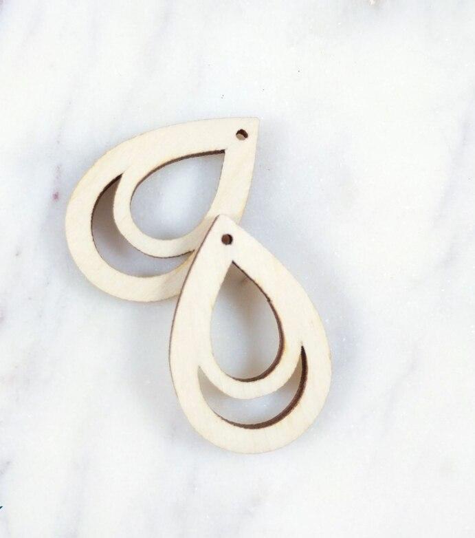 12*11mm Leaf Wood Charm Laser Cut Leaf Wood Earrings Wood Cabochon 6pcs 10261163