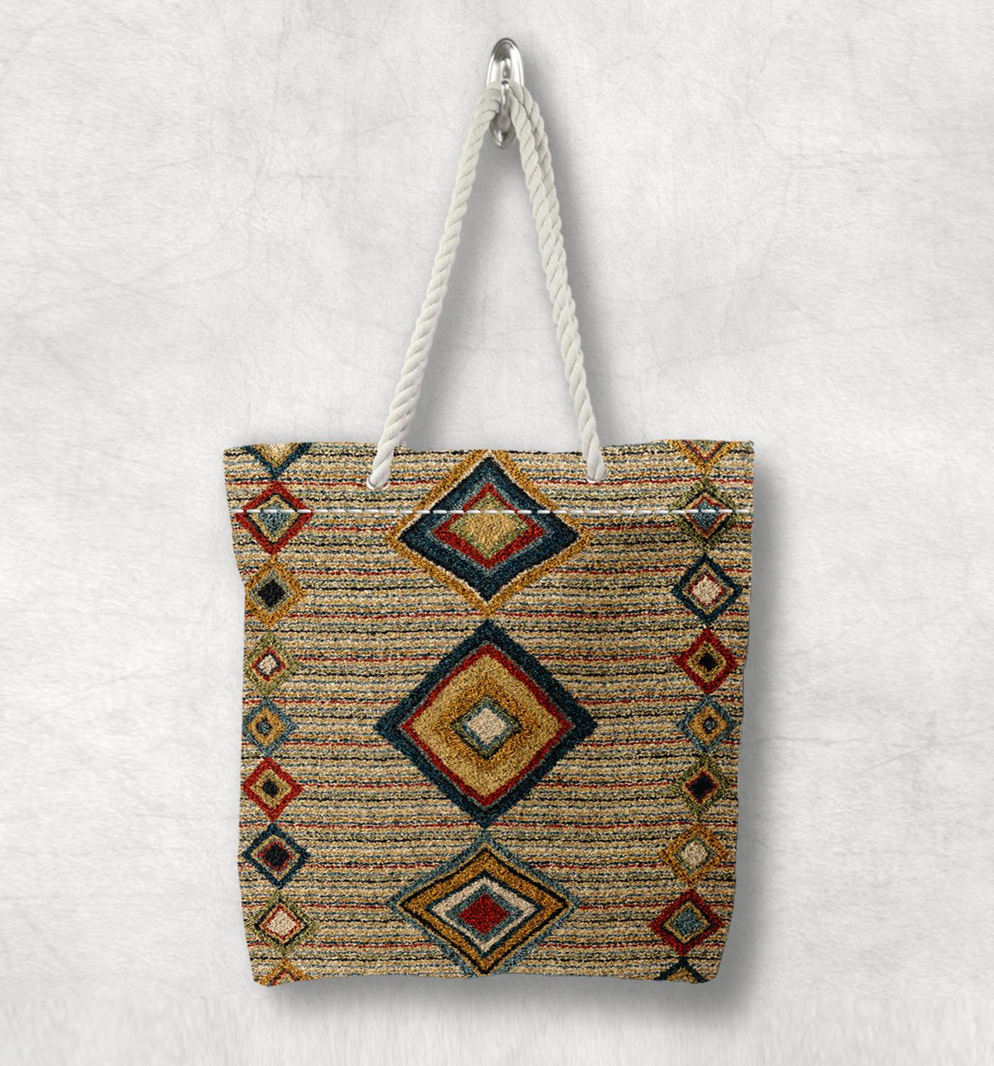 Else Brown Tiles Antique Anatolia Turkish Kilim Design White Rope Handle Canvas Bag Cotton Canvas Zippered Tote Bag Shoulder Bag