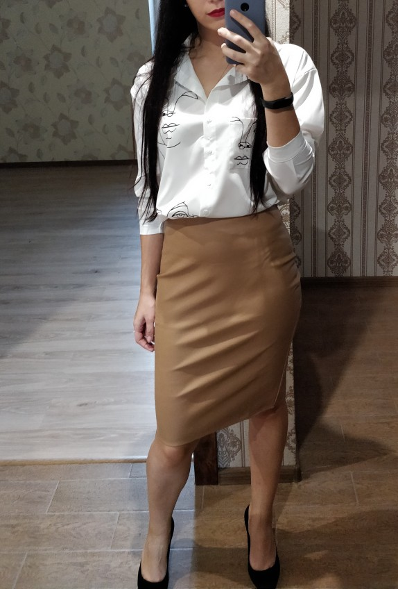Sexy Faux Fur Leather Pu Midi Women Pencil Skirts High Waist Black Ladies Office Wrap Stretch Jupe Femme Saia photo review